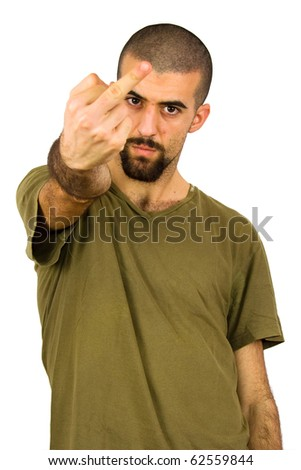 young man showing his middle finger - stock photo