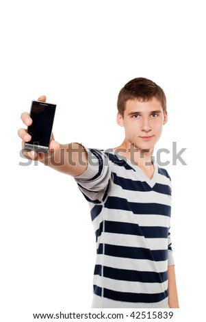 Young man showing mobile. Focus on the hand and phone. - stock photo