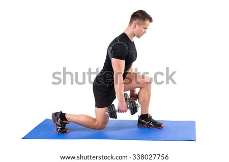 Young man shows finishing position of Dumbbell Split-Squat workout, isolated on white - stock photo