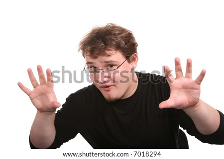 young man shows gestures by the hands