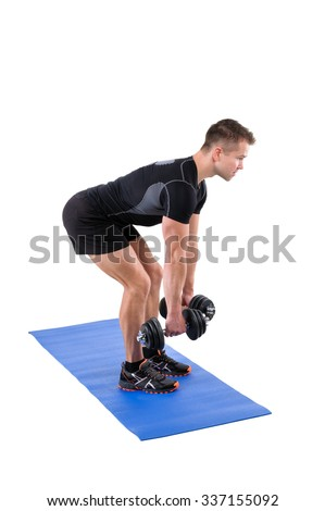 Young man shows starting position of Standing Bent Over Dumbbells Row workout, isolated on white - stock photo