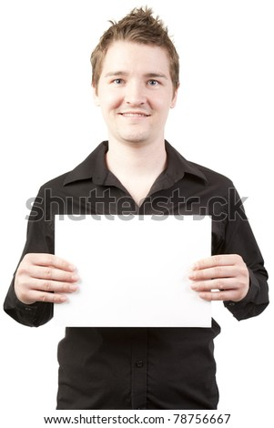 Young man smiling holding white billboard to write on isolated on white background