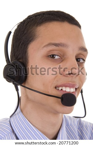 Young man smiling with telephone headset