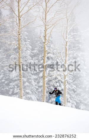 Young Man Snowshoeing Up Hill in Wintry Storm (Vertical)  - stock photo