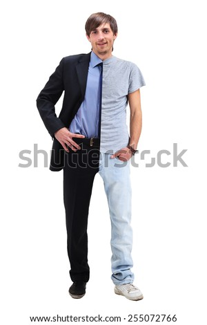 Young man standing half in a t-shirt  and business clothing - stock photo