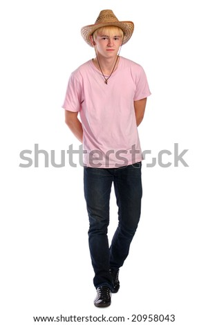 Young man steps forward. Isolated. - stock photo
