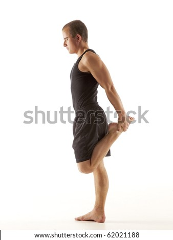 Young man stretching - stock photo