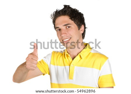 Young man successful giving thumb up and smiling isolated on white background