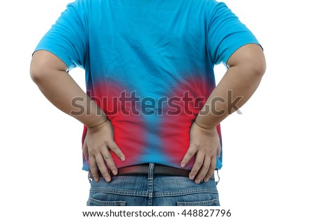 Young man suffering from strong backache on white background with clipping path - stock photo