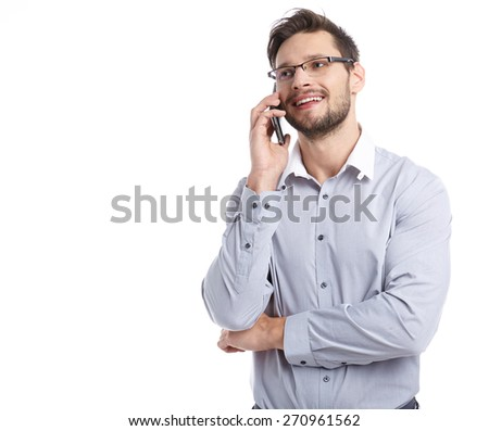 Young man talking on mobilephone. - stock photo