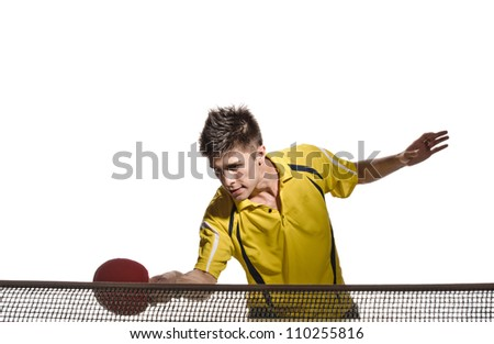 young man tennis-player in play on white background - stock photo