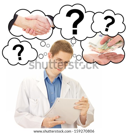Young man thinking about his job as medical doctor - stock photo