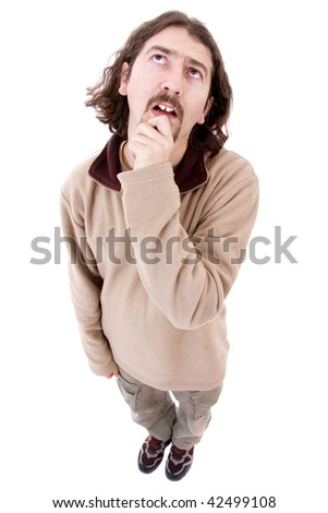 Young man thinking over a white background - stock photo