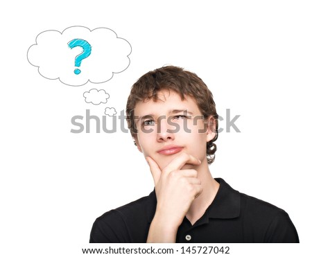 Young man thinking with question mark isolated on white background