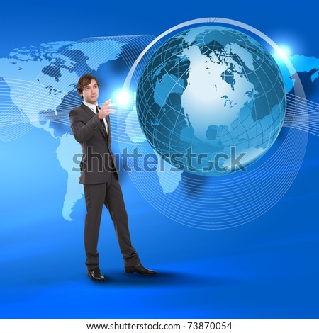 Young man touching a virtual surface. A symbol of high technology. Collage. - stock photo