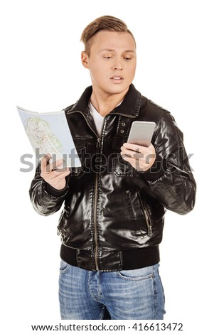 young man using mobile and looking at map on a white background
