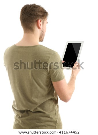 Young man using tablet, isolated on white