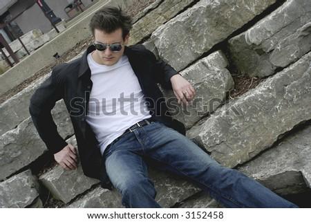 young man wainting - stock photo