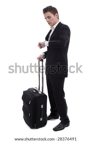 Young man waiting at airport, isolated over white - stock photo