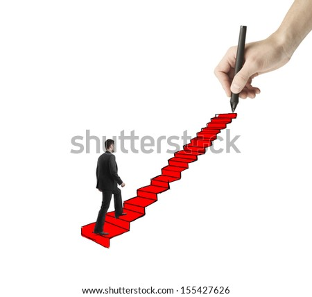 young man walking on drawing ladder with red carpet - stock photo