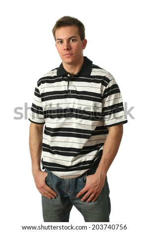 Young man wearing a stripped shirt isolated on white - stock photo