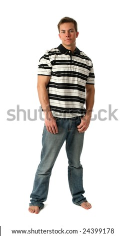 Young man wearing a stripped t-shirt isolated on white - stock photo