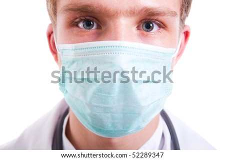 Young man wearing surgical mask.