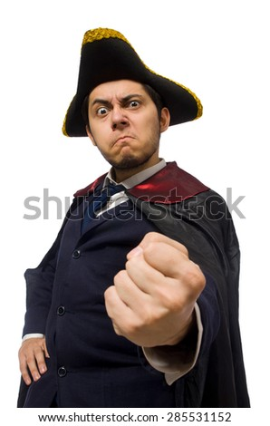 Young man wearing tricorn and coat isolated on white - stock photo