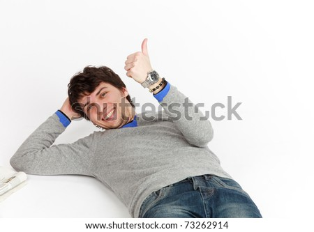 young man who shows a sign ok - stock photo