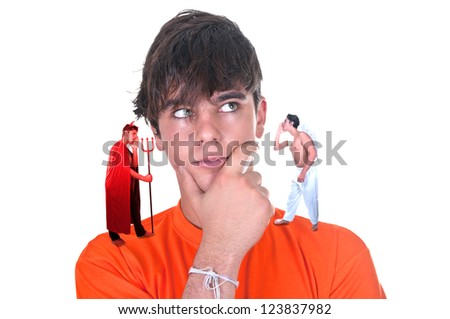 young man with a devil and his angel talking to him on white background - stock photo