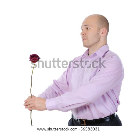 young man with a flower in her hand. Isolated on white background - stock photo
