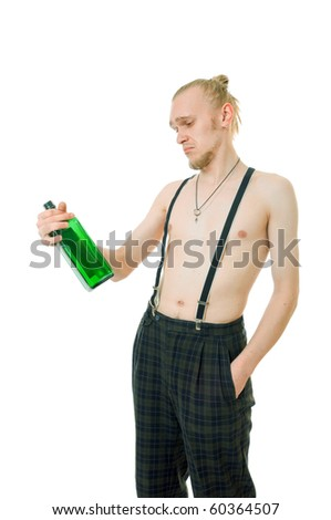 Young man with a green bottle isolated on white - stock photo