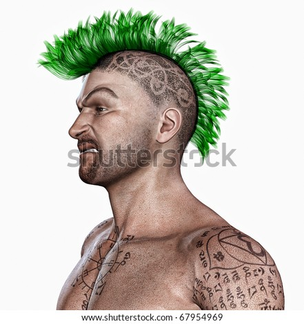 Young man with a punk hair style and tattooes
