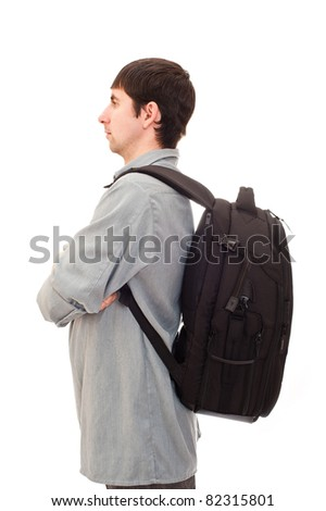 young man with a rucksack - stock photo