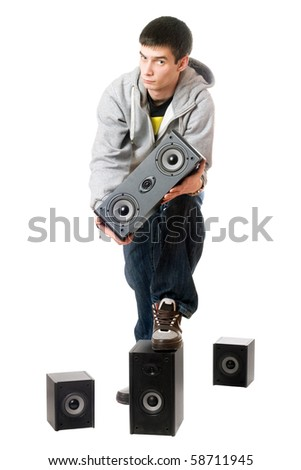 Young man with a speakers. Isolated on white - stock photo