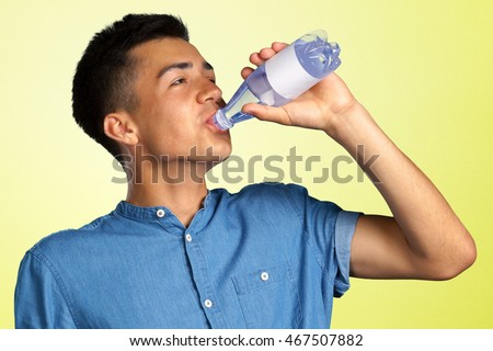 Young man with a water bottle