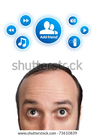 Young man with ADD FRIEND mark over his head , isolated on white background - stock photo