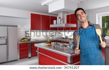 Young man with apron in a modern kitchen