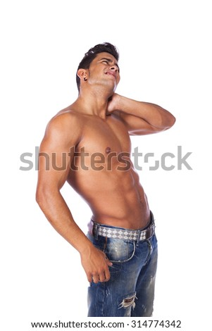 Young man with back and neck pain (isolated on white) - stock photo