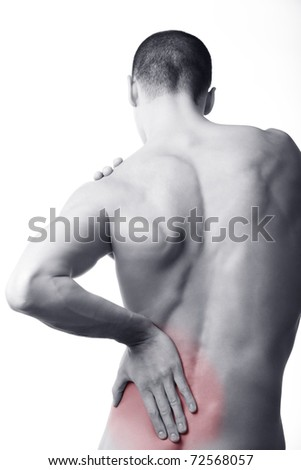 young man with back pain in the red zone