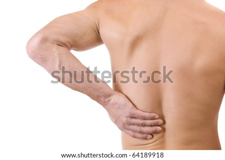 Young man with back pain, isolated in white - stock photo