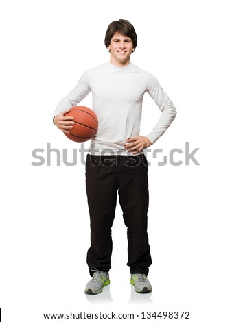 Young Man With Basketball Isolated On White Background - stock photo