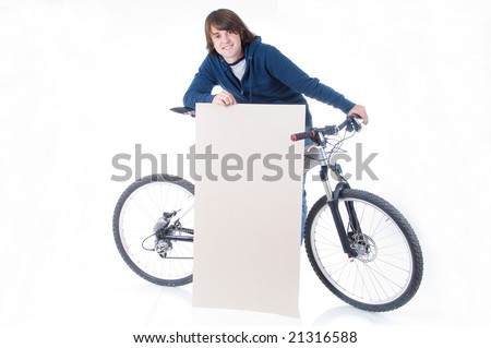 Young man with bicycle and space for your text, isolated on white background - stock photo
