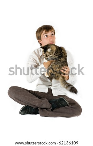 Young Man with cat on white - stock photo