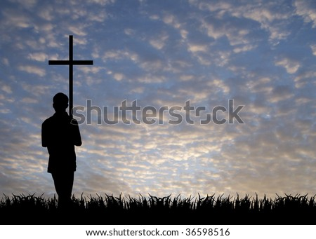young man with cross - stock photo