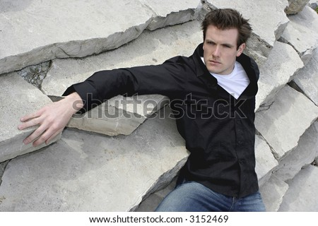 young man with great look - stock photo