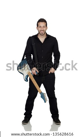 Young Man With Guitar Isolated Over White Background - stock photo