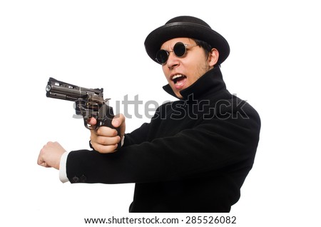 Young man with gun isolated on white - stock photo