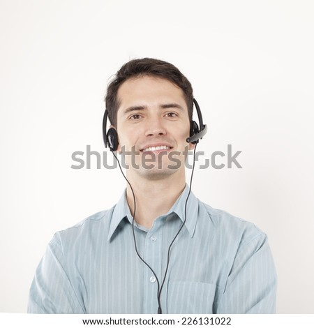 Young Man With Headphones. - stock photo