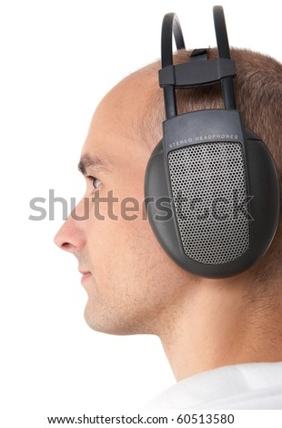 Young man with headphones - stock photo
